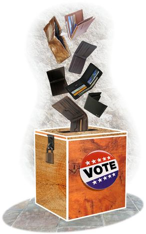 Illustration Buying Votes by Greg Groesch for The Washington Times