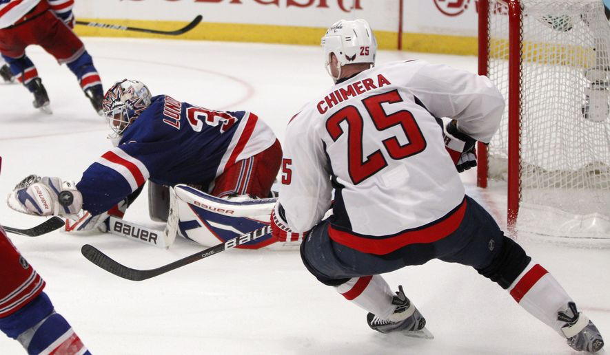 ** FILE ** Jason Chimera's game-winning shot slides by the glove of New York Rangers goalie Henrik Lundqvist (30) in the second overtime in Game 4 of an NHL hockey Stanley Cup first-round playoff series at Madison Square Garden in New York on Wednesday, April 20, 2011. The Capitals won 4-3. (AP Photo/Kathy Willens)