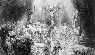 """""""The Three Crosses"""" by Rembrandt"""