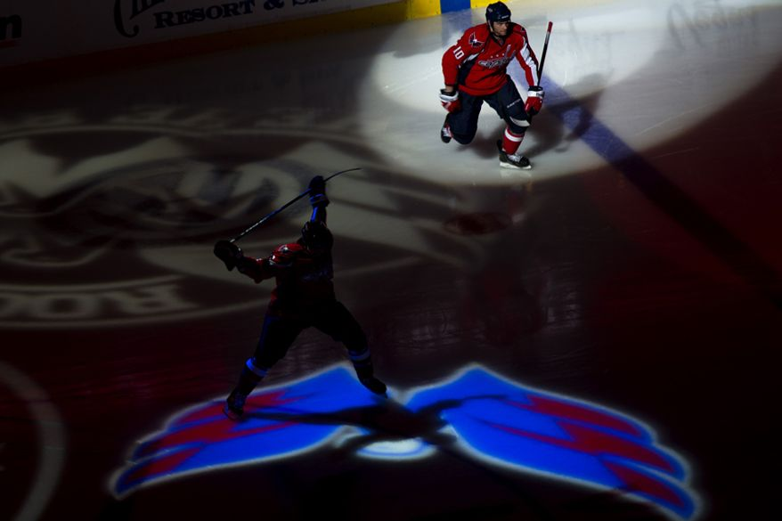 Capitals take the ice at the start of game five against the Rangers of the first round playoff series, at the Verizon Center in Washington, D.C., Saturday, April 23, 2011. (Drew Angerer/The Washington Times)