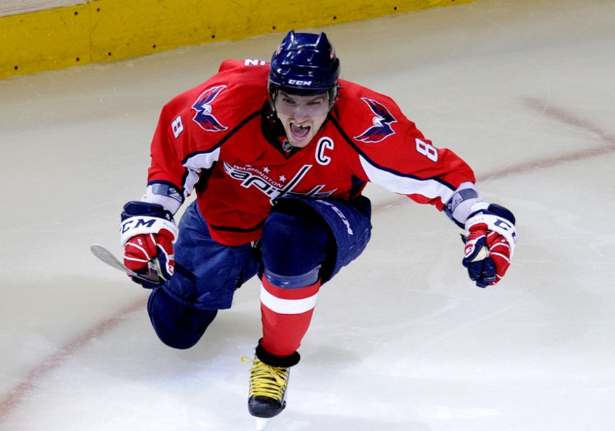 Capitals Alex Ovechkin celebrates after scoring a goal to put the Caps up 2-0  against the Rangers in the second period during game five of the first round playoff series, at the Verizon Center in Washington, D.C., Saturday, April 23, 2011. (Drew Angerer/The Washington Times)