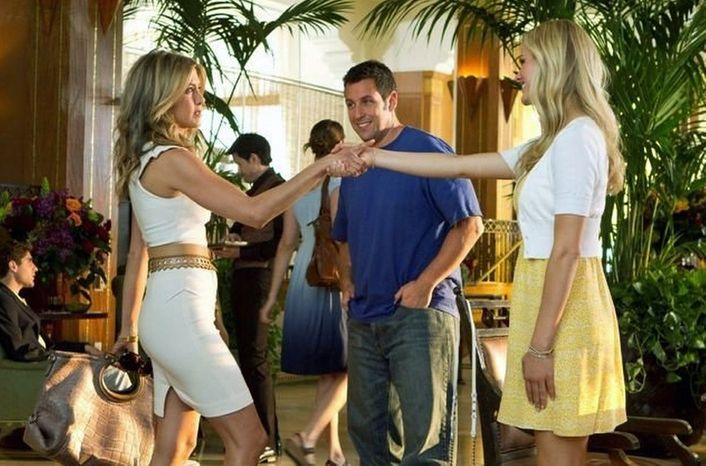 """""""Just Go With It,"""" which opened Feb. 11 and stars (left to right) Jennifer Aniston, Adam Sandler and Brooklyn Decker, can already be viewed at home via DirectTV. Hollywood directors oppose the new offer, which allows subscribers to pay $30 to watch a film at home 60 days after it debuts. (Columbia Pictures)"""