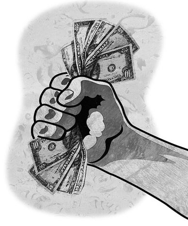 Illustration: Money by Greg Groesch for The Washington Times