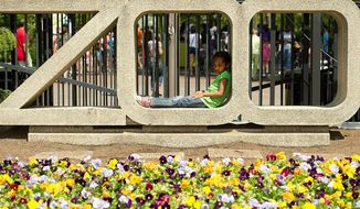 "BARBARA SALISBURY/THE WASHINGTON TIMES Camryn Swain, 5, of the District, relaxes in the ""ZOO"" sign at the National Zoo on Monday. Hundreds of people came out to the zoo on Easter Monday in celebration of African-American Family Day. An altercation led to a stabbing during the event and zoo officials say security will be reviewed."