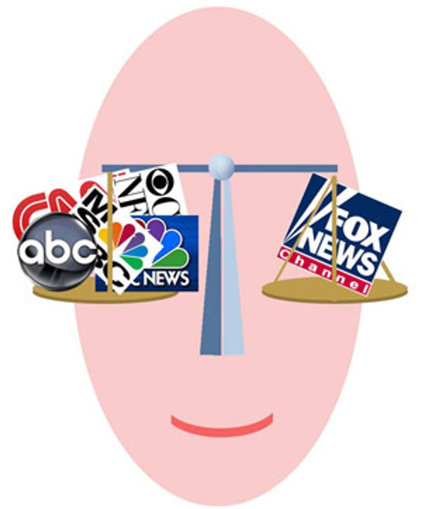 Illustration: Fox News balance by Alexander Hunter for The Washington Times