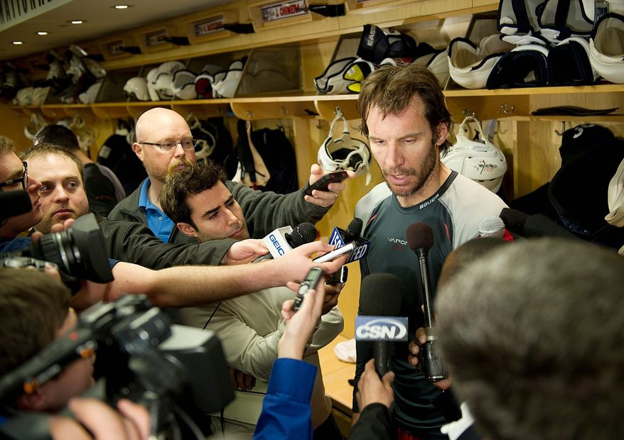 Mike Knuble talks to the media following the Washington Capitals practice Tuesday, April 26, 2011 at the Kettler Capitals Iceplex in Arlington, Va., in preparation for the next round of the playoffs. (Barbara L. Salisbury/The Washington Times)