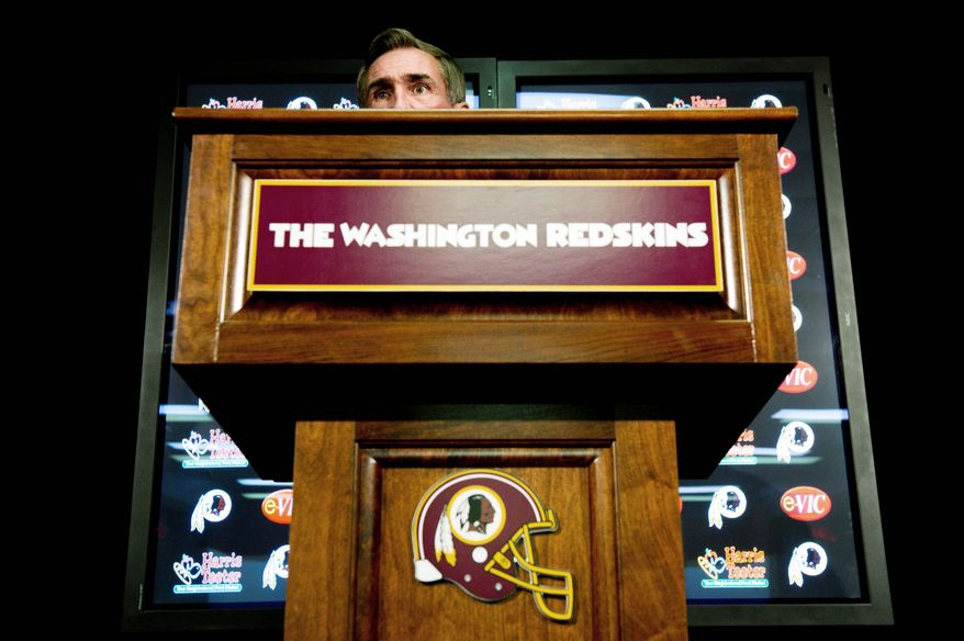 """DREW ANGERER/THE WASHINGTON TIMES Coach Mike Shanahan was evasive when talking about the Redskins' quarterback situation Wednesday, but he said, """"More mistakes are made at that position [in the draft] than any other."""""""