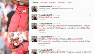 A screen grab of Torrey Smith's Twitter feed.