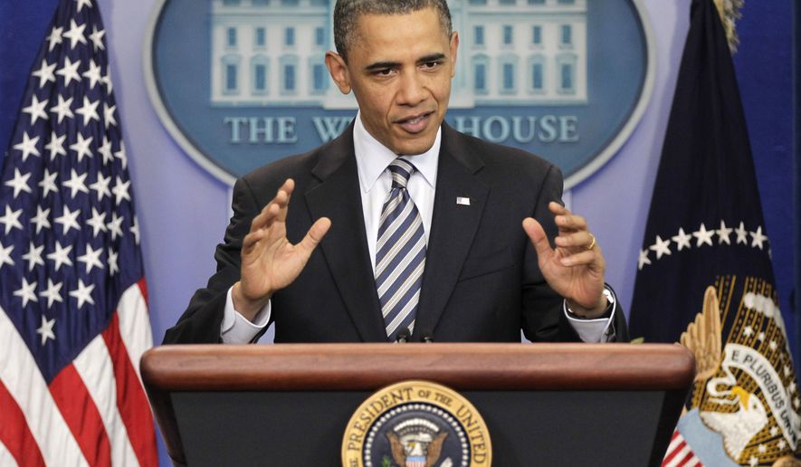 President Obama speaks to reporters about the controversy over his birth certificate and nationality on Wednesday, April 27, 2011, at the White House in Washington. (AP Photo/J. Scott Applewhite)