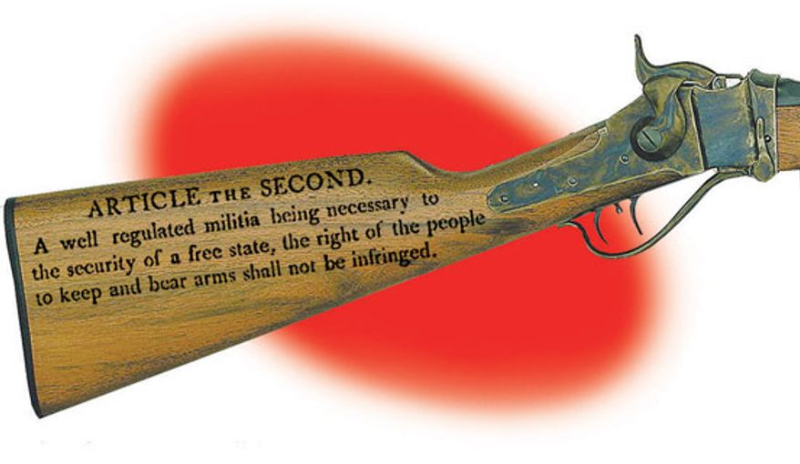 Illustration: Second Amendment by Alexander Hunter for The Washington Times