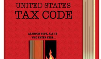 Illustration: U.S. tax code by Alexander Hunter for The Washington Times