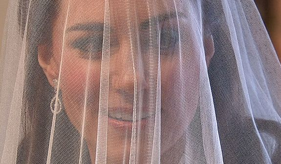 In this image taken from video, Kate Middleton is seen at Westminster Abbey for the Royal Wedding in London on Friday, April, 29, 2011. (AP Photo/APTN)