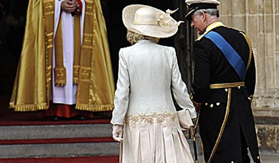 Britain's Prince Charles and Camilla, Duchess of Cornwall arrive at Westminster Abbey at the Royal Wedding for Britain's Prince William and Kate Middleton in London Friday, April, 29, 2011. (AP Photo/Martin Meissner)