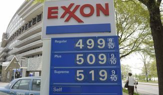 ** FILE ** In this April 20, 2011, file photo, gas prices above five dollars a gallon for Plus and Supreme octanes, are seen on a sign at a gas station in Washington. (AP Photo/Susan Walsh, File)