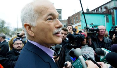 """New Democratic Party leader Jack Layton favors higher taxes and more social spending. """"We can change the government. We're not just going to oppose [Prime Minister Stephen] Harper, we're going to replace him,"""" Mr. Layton said."""