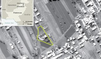 This undated aerial handout image provided by the CIA shows the Abbottabad compound in Pakistan where American forces in Pakistan killed Osama bin Laden, the mastermind behind the Sept. 11, 2001 terrorist attacks. (Associated Press/CIA)