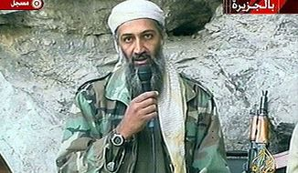 **FILE** In this photo from Oct. 7, 2011, Osama bin Laden is seen at an undisclosed location in this television image broadcast. (Associated Press)