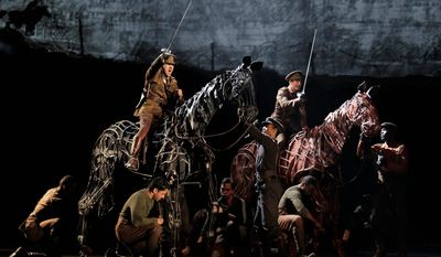 """""""War Horse,"""" seen here being performed at the Lincoln Center Theater in New York, the heartwarming human-puppet hybrid, was nominated for best play."""