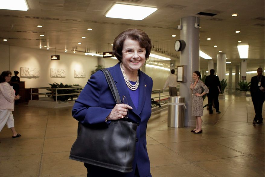 Sen. Dianne Feinstein, California Democrat and chairwoman of the Senate Intelligence Committee, heads to the meeting with Mr. Panetta.