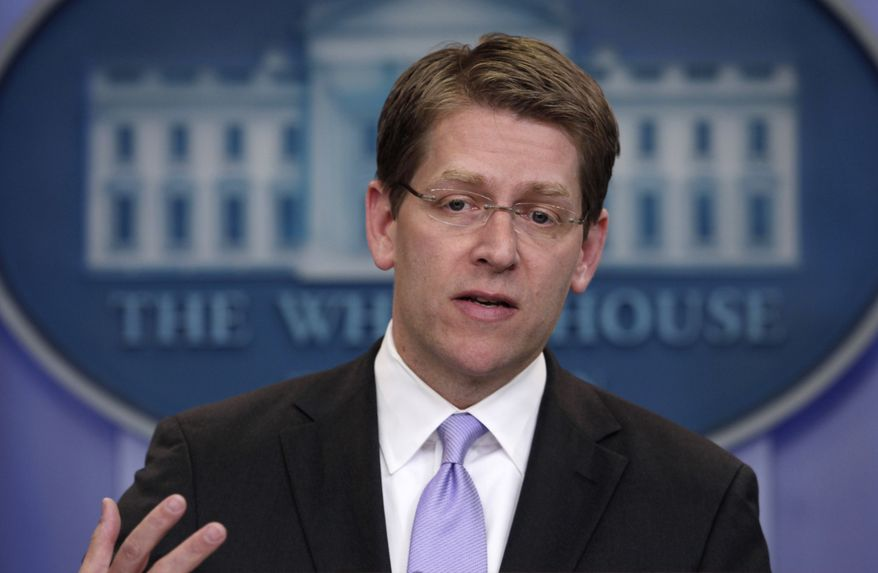 White House Press Secretary Jay Carney gestures Tuesday during his daily news briefing at the White House. (Associated Press)