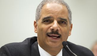 Attorney General Eric H. Holder Jr. testifies on Capitol Hill in Washington on Tuesday, May 3, 2011, at a House Judiciary Committee oversight hearing. (AP Photo/Evan Vucci)