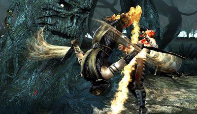 Scorpion attacks Johnny Cage in Mortal Kombat.