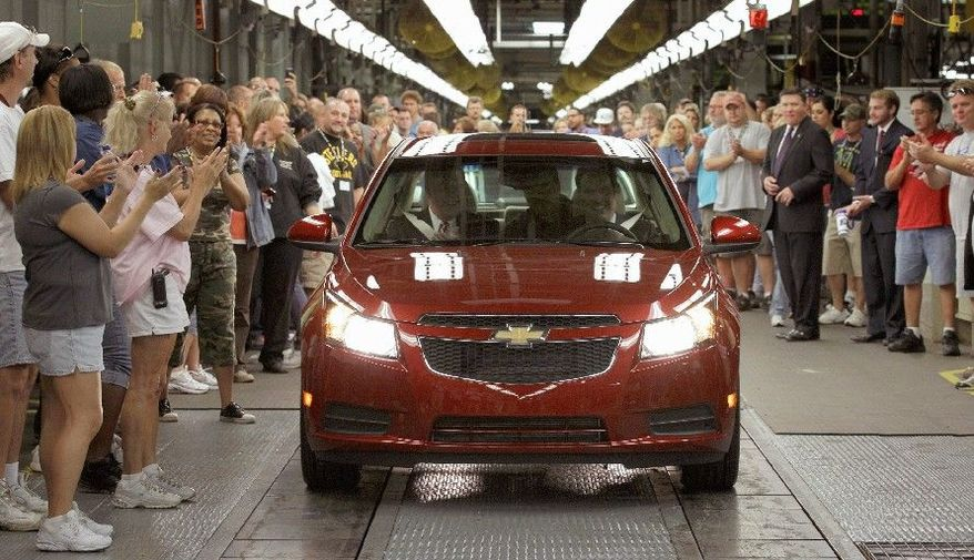 Associated Press General Motors workers cheer as the first Chevrolet Cruze compact sedan rolls off the assembly line Sept. 8 at the GM factory in Lordstown, Ohio. Chevrolet said it sold 150,652 Cruze sedans during the first quarter of 2011.