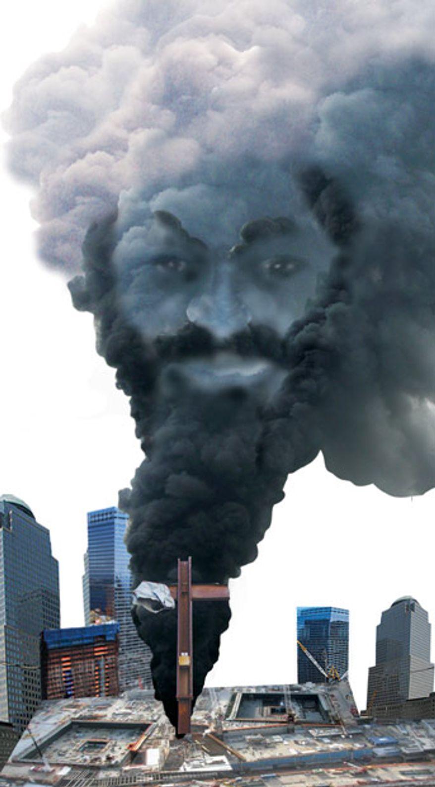 Illustration: Osama's Ground Zero by Linas Garsys for The Washington Times
