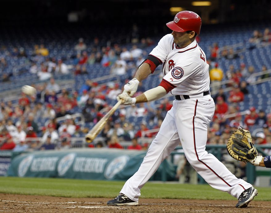 Danny Espinosa is one of several Washington Nationals players to turn to hitting coach Rick Eckstein to break a current slump. (AP Photo/Alex Brandon)