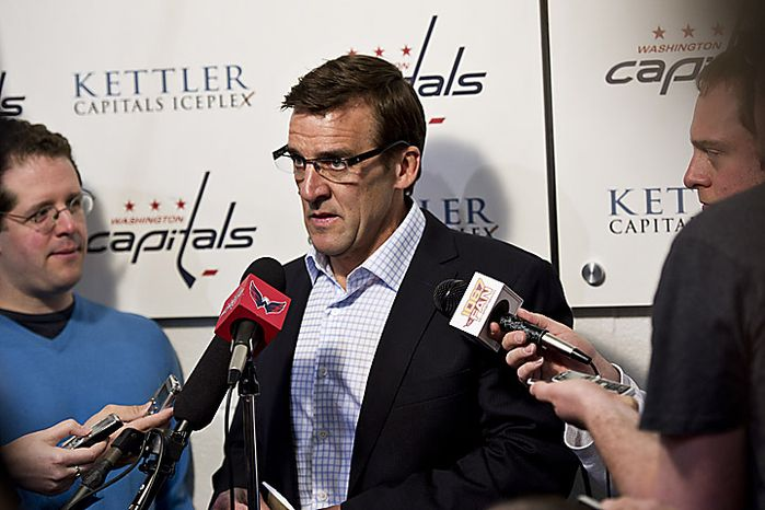 Capitals general manager George McPhee talks with the media at the Kettler Ice Complex in Arlington, Va., on May 5, 2011. (Drew Angerer/The Washington Times)