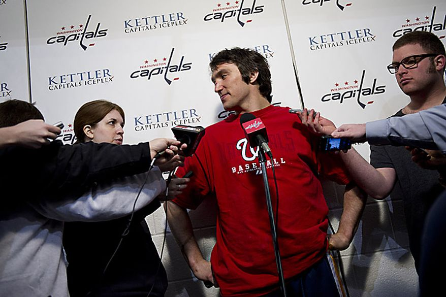 Capitals player Alex Ovechkin talks with the media at the Kettler Ice Complex in Arlington on Thursday, May 5, 2011. (Drew Angerer/The Washington Times)