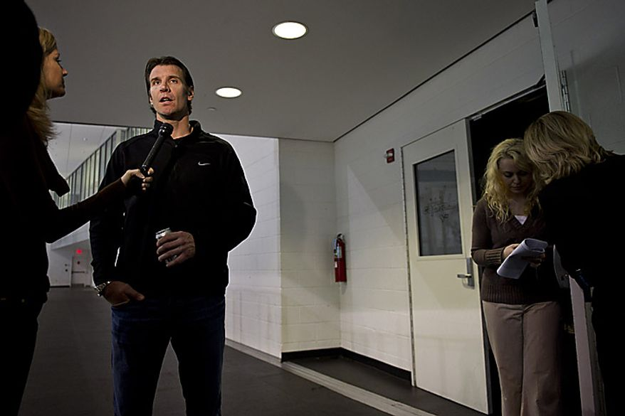 Capitals player Mike Knuble talks with the media outside the locker room at the Kettler Ice Complex in Arlington on Thursday, May 5, 2011. (Drew Angerer/The Washington Times)