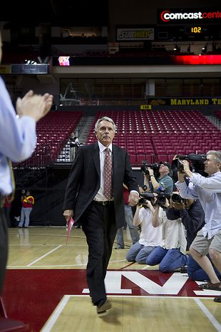 Coach Gary Williams enters the Comcast Center at the University of Maryland in College Park on Friday, May 6, 2011 for a press conference to officially announce his retirement after a 33-year career, 22 of which have been at the University of Maryland. (Barbara L. Salisbury/The Washington Times)