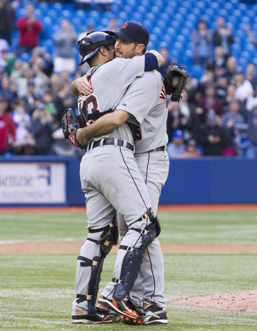 Detroit Tigers pitcher Justin Verlander, right, and catcher Alex Avila celebrate Verlander's no-hitter against the Toronto Blue Jays in Toronto on Saturday, May 7, 2011. (AP Photo/The Canadian Press, Darren Calabrese)
