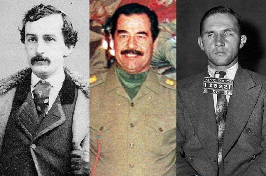 John Wilkes Booth, Saddam Hussein and Bruno Hauptmann (Saddam and Bruno photos: Associated Press)