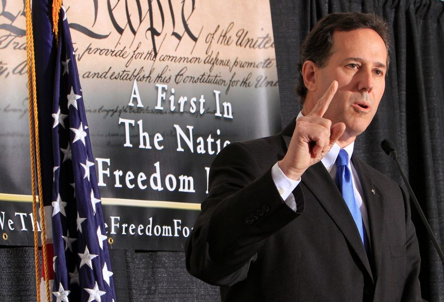 Former Sen. Rick Santorum, Pennsylvania Republican, is participating in candidates forums in New Hampshire as another presidential hopeful. He is among the favorites of social-issues conservatives.