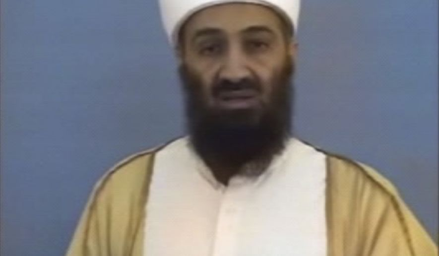 ** FILE ** Al Qaeda leader Osama bin Laden is shown in a video released by the Department of Defense on Saturday, May 7, 2011. (AP Photo/Department of Defense)