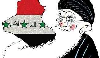 Illustration: Iran and Iraq by Alexander Hunter for The Washington Times