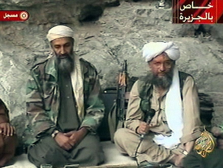 **FILE** In this photo from Oct. 7, 2001, Osama bin Laden (left) and his top lieutenant Egyptian Ayman al-Zawahri are seen at an undisclosed location in this television image broadcast. (Associated Press/Al Jazeera)