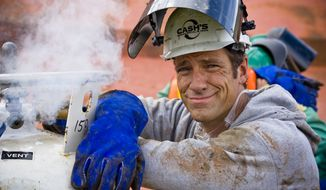 """Discovery Channel's """"Dirty Jobs"""" star Mike Rowe will appear as a witness before the Senate on Wednesday at a hearing titled """"Manufacturing Our Way to a Stronger Economy,"""" talking up the know-how and skill of American workers. (Discovery Channel)  ** FILE **"""
