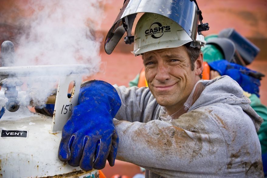 """Discovery Channel's """"Dirty Jobs"""" star Mike Rowe will appear as a witness before the Senate on Wednesday at a hearing titled """"Manufacturing Our Way to a Stronger Economy,"""" talking up the know-how and skill of American workers. (Discovery Channel)"""