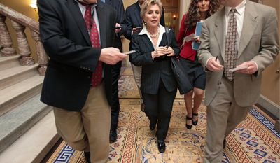 ASSOCIATED PRESS Sen. Barbara Boxer leaves Capitol Hill on Thursday after speaking on the Senate floor about former Nevada Sen. John Ensign. Mr. Ensign made false statements to the Federal Election Commission, the panel said.