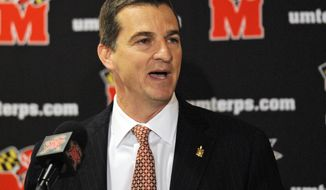 Newly-named Maryland men's head basketball coach Mark Turgeon speaks during an NCAA college basketball news conference, Wednesday, May 11, 2011, in College Park, Md. (AP Photo/Nick Wass)