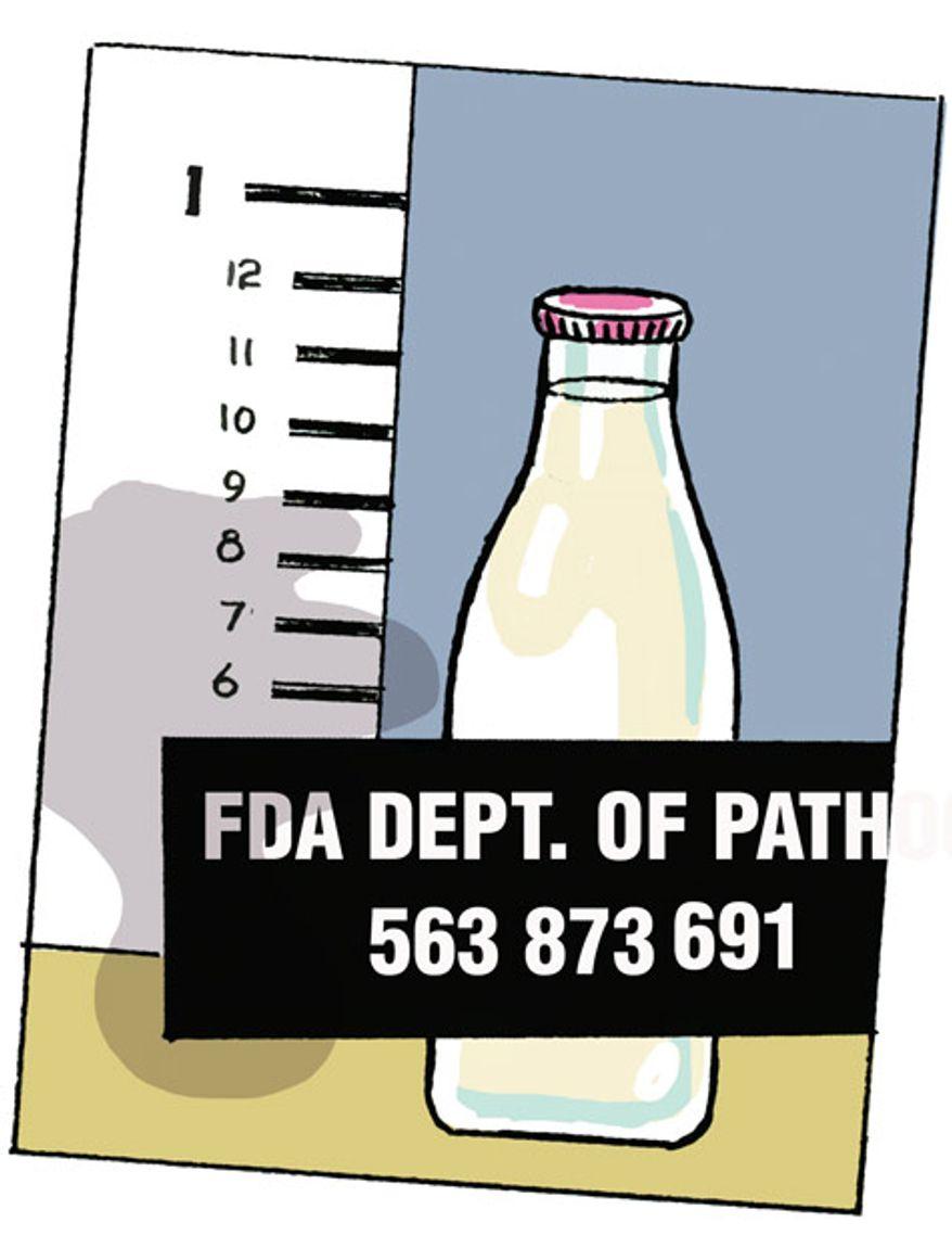 Illustration: Raw milk by Alexander Hunter for The Washington Times