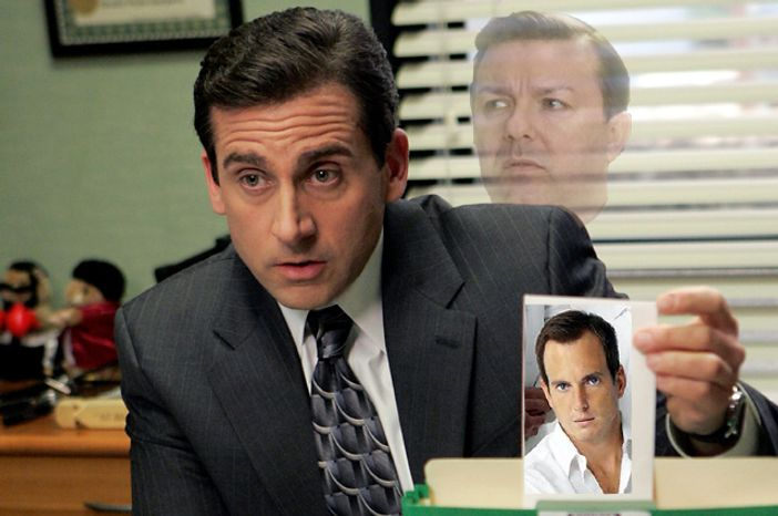 """Steve Carell is leaving """"The Office"""" as the creator and star of the original show, Ricky Gervais, looks on in spirit. Is Will Arnett a possible replacement?"""