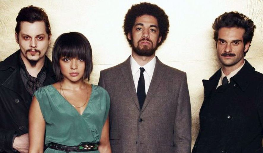 "Left to right: Jack White, Norah Jones, Brian ""Danger Mouse"" Burton and Daniele Luppi contribute their talents to ""Rome,"" due to be released Tuesday."