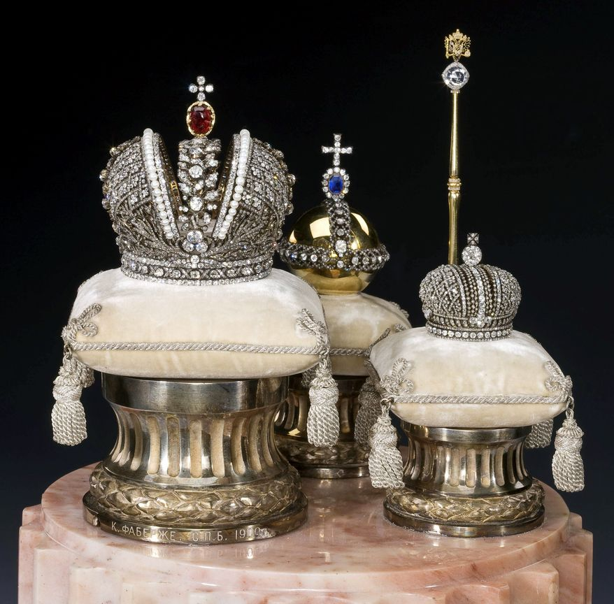 ASSOCIATED PRESS Faberge Miniatures of the Imperial Coronation Regalia are among numerous works of art that the Russian government has refused to loan to American museums.