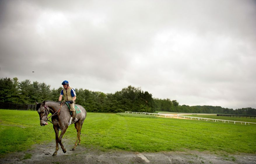ROD LAMKEY JR./THE WASHINGTON TIMES Rider Phil Judge takes a horse back to the stables at Chanceland Farms in West Friendship, Md. The suffering of Maryland's tracks has filtered down to breeding operations and other aspects of racing.