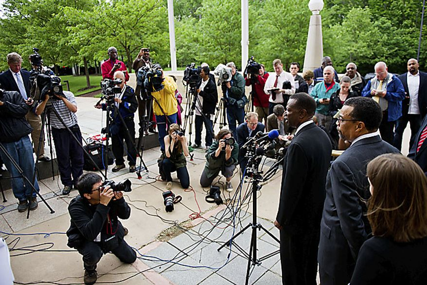 Former Prince George's County Executive Jack B. Johnson speaks to the media outside the U.S. Federal Courthouse, in Greenbelt, Md., Tuesday, May 17, 2011. Johnson pleaded guilty to one count of extortion and one count of witness tampering. (Drew Angerer/The Washington Times)