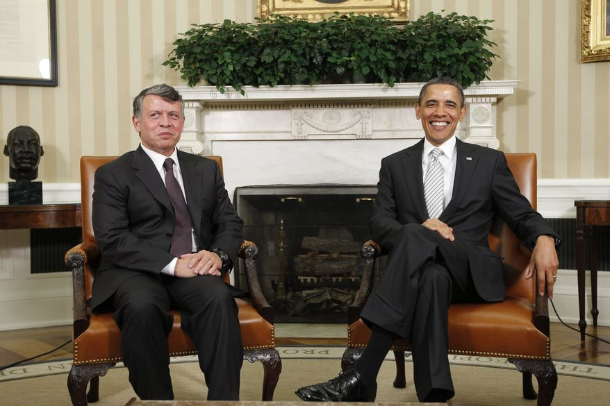 President Obama meets with Jordan's King Abdullah II in the Oval Office at the White House in Washington on Tuesday, May 17, 2011. (AP Photo/Charles Dharapak)